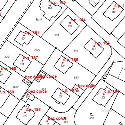 Katastrální mapa Stavební objekt Borek 186, Borek