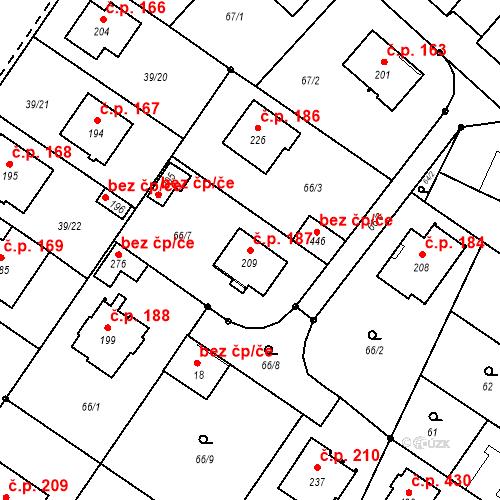 Katastrální mapa Stavební objekt Borek 187, Borek