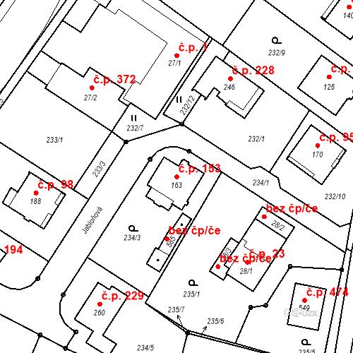 Katastrální mapa Stavební objekt Borek 153, Borek