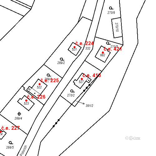 Katastrální mapa Stavební objekt Černolice 413, Černolice