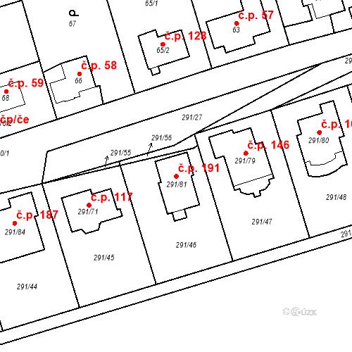 Katastrální mapa Stavební objekt Třebonice 191, Praha