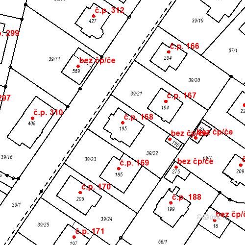 Katastrální mapa Stavební objekt Borek 168, Borek