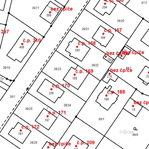 Katastrální mapa Stavební objekt Borek 169, Borek
