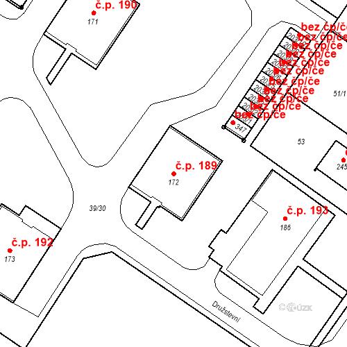 Katastrální mapa Stavební objekt Borek 189, Borek