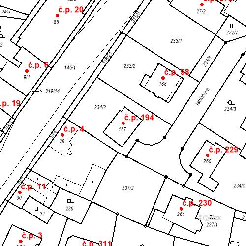 Katastrální mapa Stavební objekt Borek 194, Borek