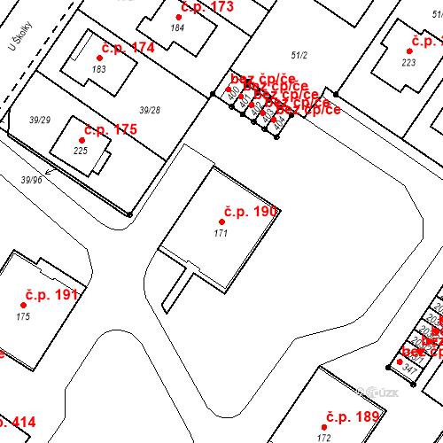Katastrální mapa Stavební objekt Borek 190, Borek