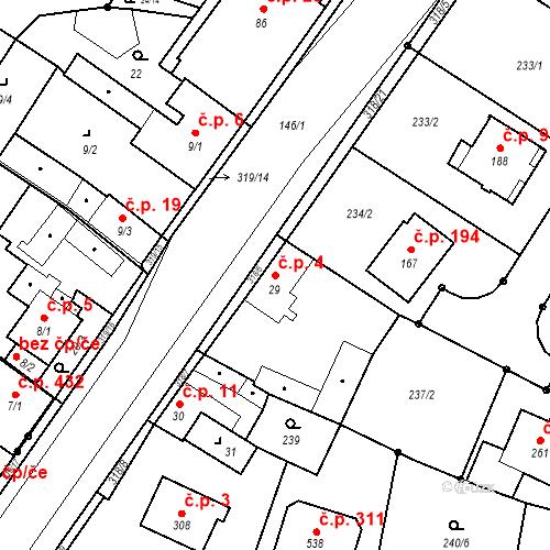 Katastrální mapa Stavební objekt Borek 4, Borek