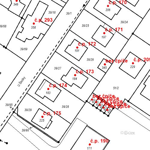 Katastrální mapa Stavební objekt Borek 173, Borek