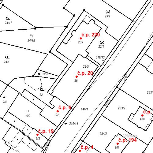 Katastrální mapa Stavební objekt Borek 20, Borek