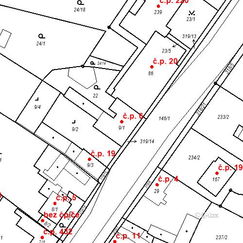 Katastrální mapa Stavební objekt Borek 6, Borek