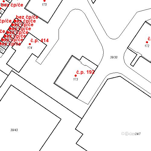 Katastrální mapa Stavební objekt Borek 192, Borek