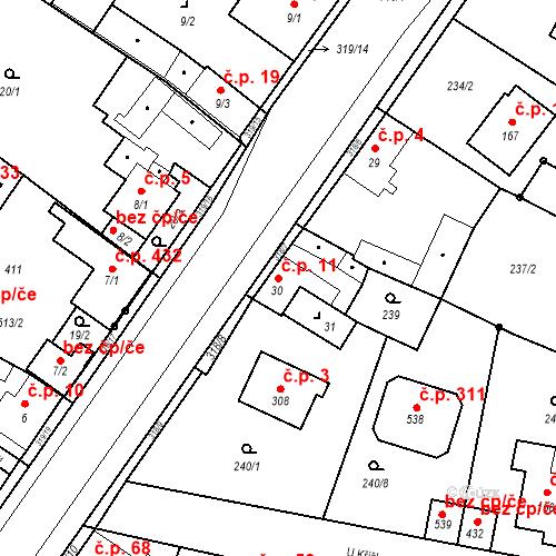 Katastrální mapa Stavební objekt Borek 11, Borek