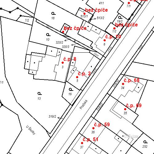 Katastrální mapa Stavební objekt Borek 2, Borek
