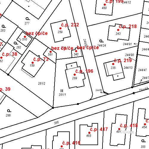 Katastrální mapa Stavební objekt Borek 196, Borek