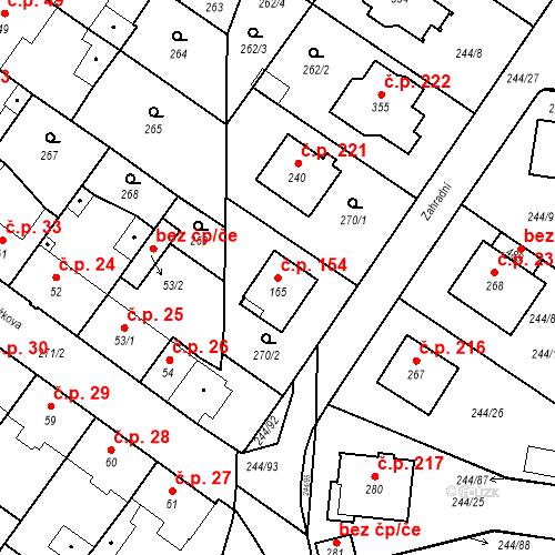 Katastrální mapa Stavební objekt Borek 154, Borek