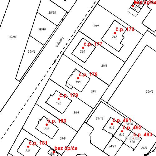 Katastrální mapa Stavební objekt Borek 178, Borek