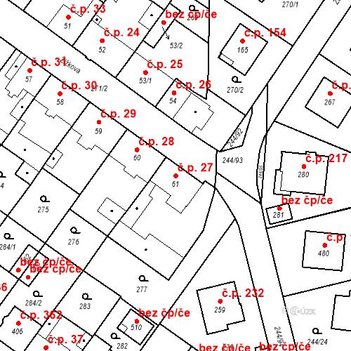 Katastrální mapa Stavební objekt Borek 27, Borek