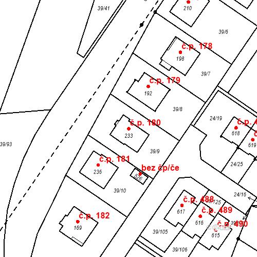 Katastrální mapa Stavební objekt Borek 180, Borek