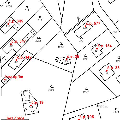 Katastrální mapa Stavební objekt Všenory 25, Všenory