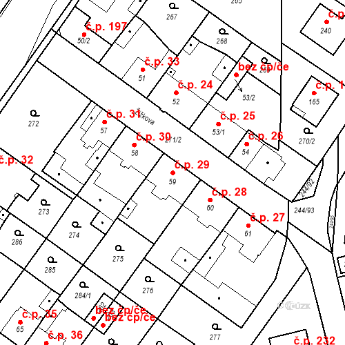 Katastrální mapa Stavební objekt Borek 29, Borek