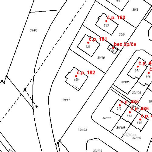 Katastrální mapa Stavební objekt Borek 182, Borek