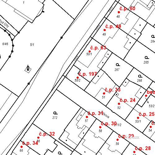 Katastrální mapa Stavební objekt Borek 197, Borek