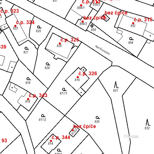 Katastrální mapa Stavební objekt Všenory 326, Všenory