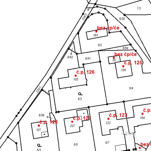 Katastrální mapa Stavební objekt Borek 126, Borek
