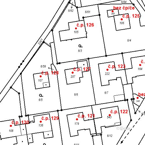 Katastrální mapa Stavební objekt Borek 127, Borek