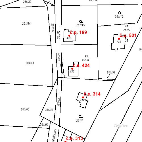 Katastrální mapa Stavební objekt Černolice 424, Černolice