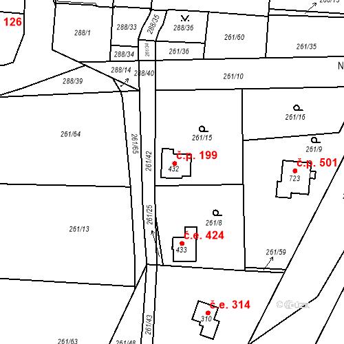Katastrální mapa Stavební objekt Černolice 425, Černolice