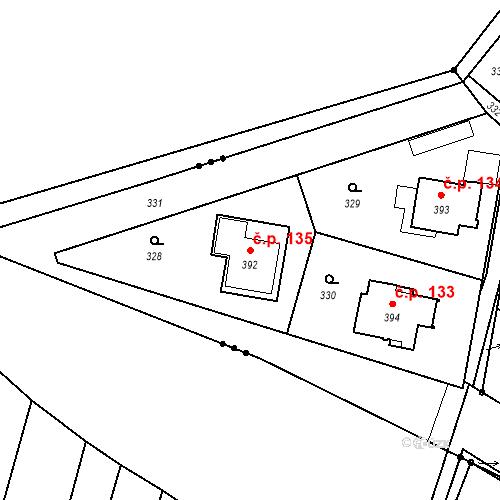 Katastrální mapa Stavební objekt Borek 135, Borek