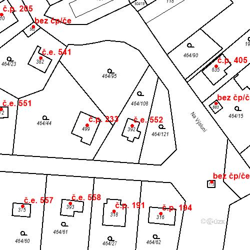 Katastrální mapa Stavební objekt Třebotov 552, Třebotov