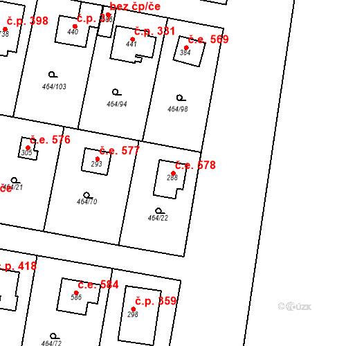Katastrální mapa Stavební objekt Třebotov 578, Třebotov