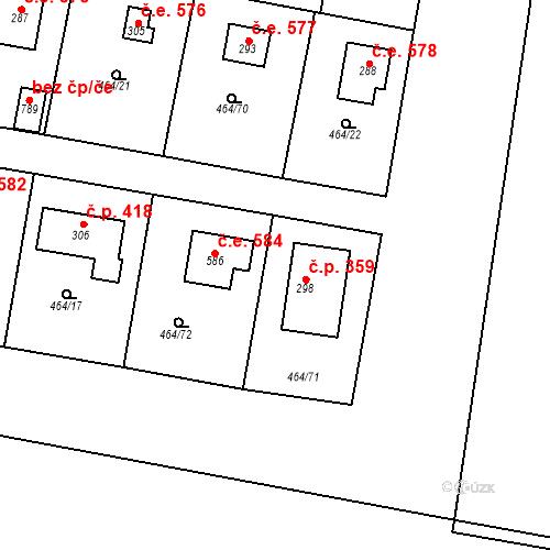 Katastrální mapa Stavební objekt Třebotov 585, Třebotov