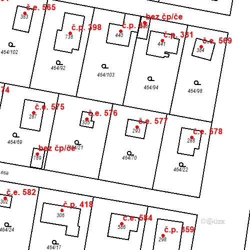 Katastrální mapa Stavební objekt Třebotov 577, Třebotov