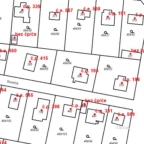 Katastrální mapa Stavební objekt Třebotov 193, Třebotov