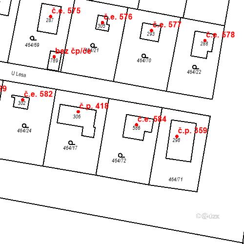 Katastrální mapa Stavební objekt Třebotov 584, Třebotov