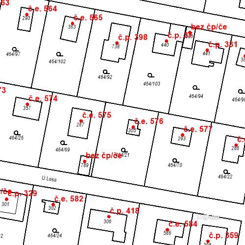Katastrální mapa Stavební objekt Třebotov 576, Třebotov