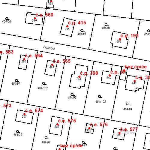 Katastrální mapa Stavební objekt Třebotov 398, Třebotov