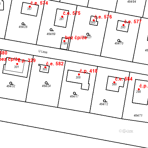 Katastrální mapa Stavební objekt Třebotov 583, Třebotov