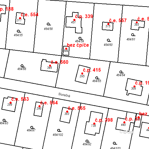 Katastrální mapa Stavební objekt Třebotov 561, Třebotov