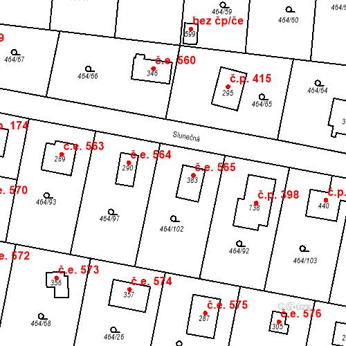 Katastrální mapa Stavební objekt Třebotov 565, Třebotov