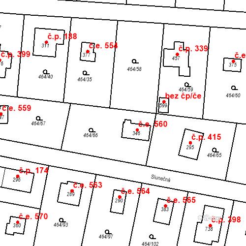Katastrální mapa Stavební objekt Třebotov 560, Třebotov