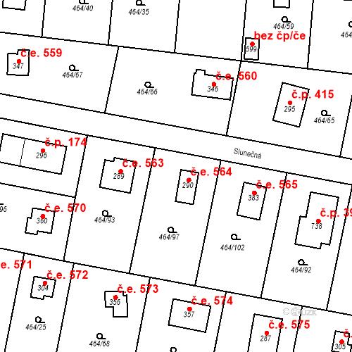 Katastrální mapa Stavební objekt Třebotov 564, Třebotov