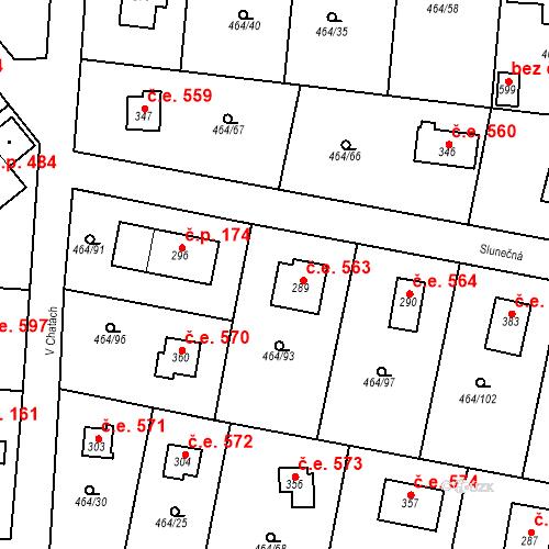 Katastrální mapa Stavební objekt Třebotov 563, Třebotov