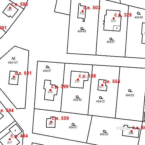 Katastrální mapa Stavební objekt Třebotov 188, Třebotov