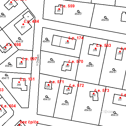 Katastrální mapa Stavební objekt Třebotov 570, Třebotov