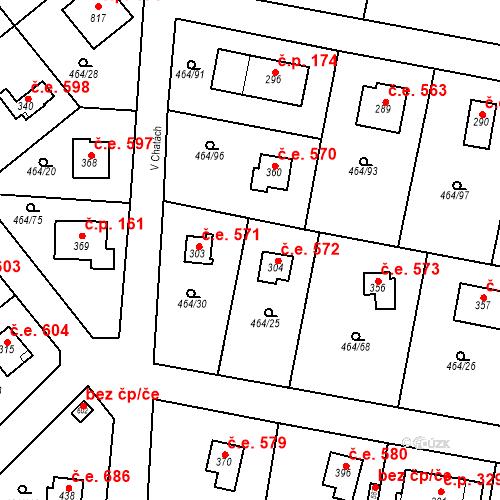 Katastrální mapa Stavební objekt Třebotov 572, Třebotov