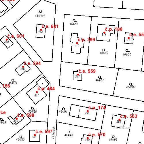 Katastrální mapa Stavební objekt Třebotov 559, Třebotov